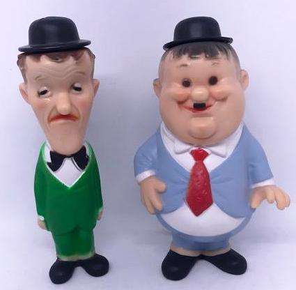 "Laurel & Hardy Squeeky Toys made in Italy, 1969. (Laurel does not squeek, Laurel 7 1/2"" Tall, Hardy 8"" tall)-1"