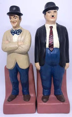 "Laurel & Hardy Hand painted Bookends. (10 1/2"" tall)"