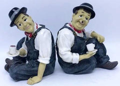 "Laurel & Hardy Sharing Coffee Figurines. (5 1/2"" tall)"