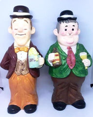 "Laurel & Hardy Plaster Jolly Drinking figures by Larry Harmon Pictures (14"")"