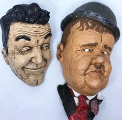 "Laurel & Hardy Painted Hanging Busts (Laurel 9 1/2 tall, Hardy 11"" tall)"