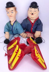 "Laurel & Hardy Marionette's By Knickerbocker 1966 (These little guys still have their strings, but aren't attached to the controls anymore, Laurel 13"" tall, Hardy 12"" tall)"