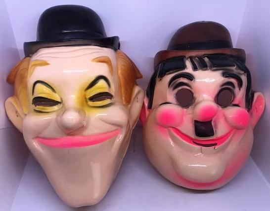 Laurel & Hardy Plastic Halloween Masks (some damage to nose and mouth areas)-1