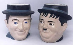 "Laurel & Hardy Hand painted mugs (4 1/2"" tall)"
