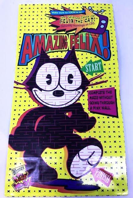 Felix The Cat Yellow Wendy's Kids Meal Bag