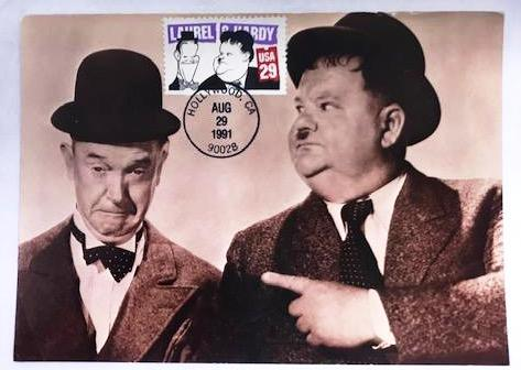 Laurel & Hardy Postcard and Stamp From 1991, Postmarked from Hollywood.