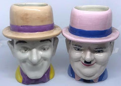 "Laurel & Hardy Handpainted Pastel Mugs 7"" tall."