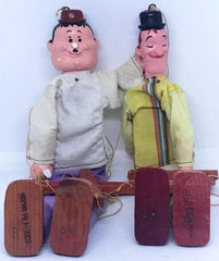 Laurel & Hardy Marionette's with Plaster Heads and hands, Wood Body and Feet, Hecho en Mexico. (Damage to Hardy's nose and hand)