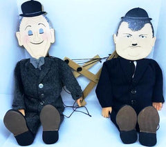 Laurel & Hardy Home made Marionette's (wooden head and feet, doll hands and completely workable).