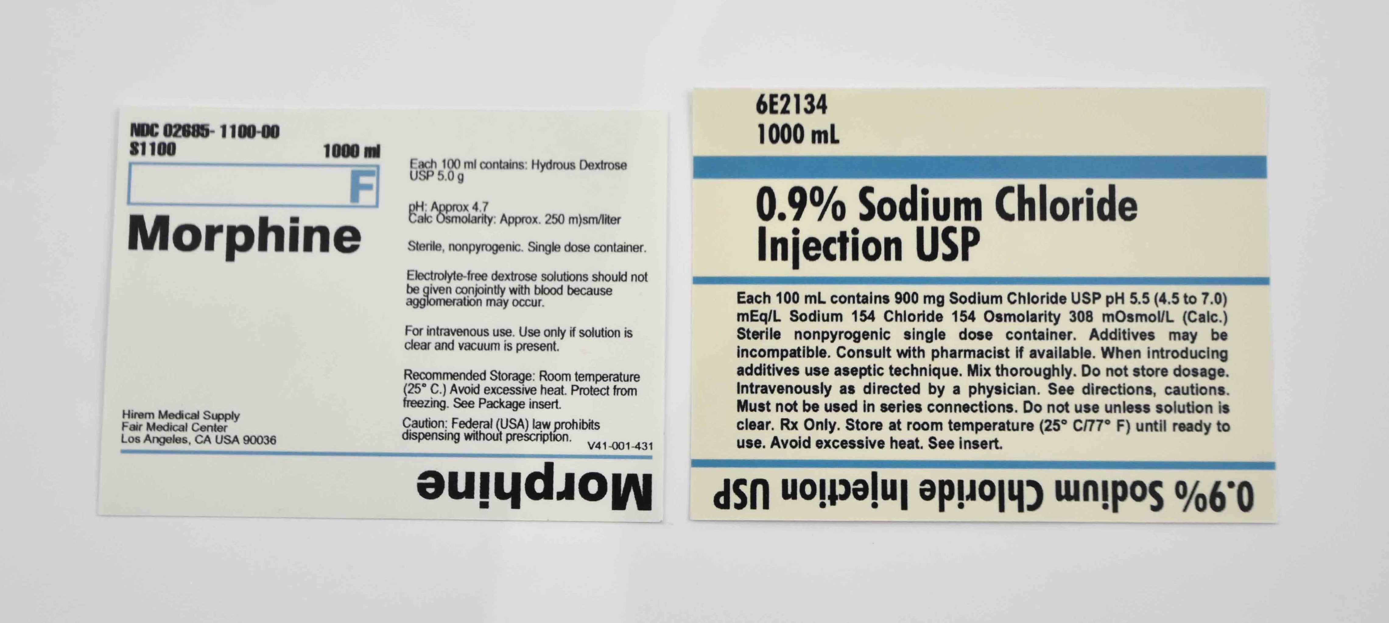 Mad Men: Replica Vintage Morphine and Sodium Chloride Labels