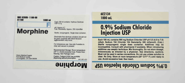 Mad Men: Replica Vintage Morphine and Sodium Chloride Labels-1