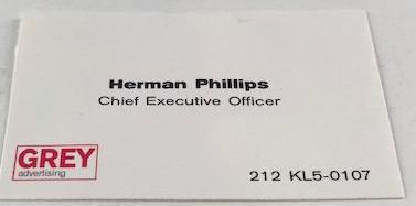 "Mad Men Herman ""Duck"" Phillips' business card from Grey Advertising"