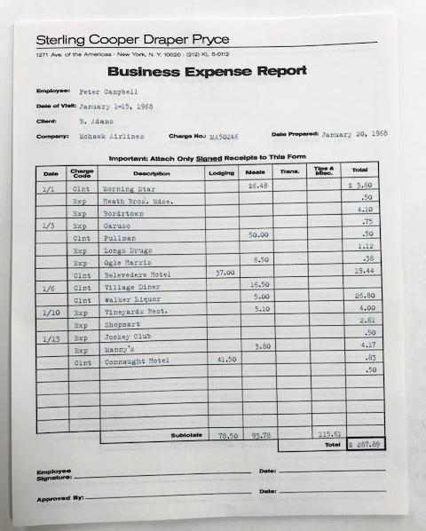 Screenbid Media Company, LLC. - Peter Campbell's Business Expense Report