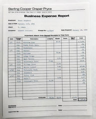 Mad Men: Pete Campbell's Business Expense Report