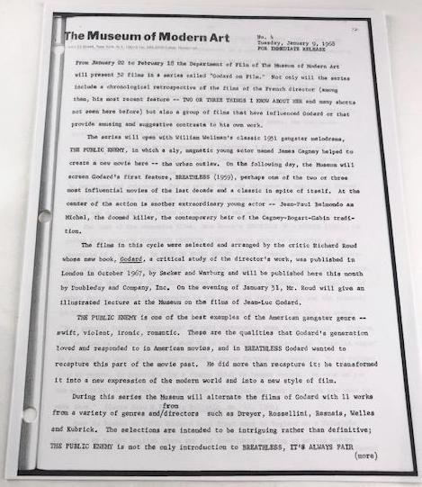 "Museum of Modern Art memo for immediate release Jan 9, 1968, RE: ""Godard on Film"""