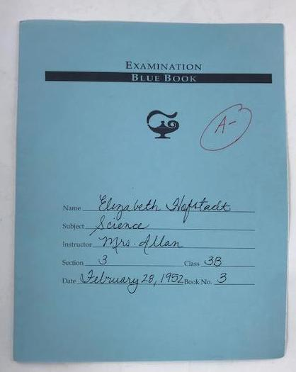 Betty Draper's old Science Examination book