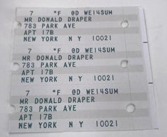 Don Draper's Address Labels for his Park Ave apartment (set of 3)