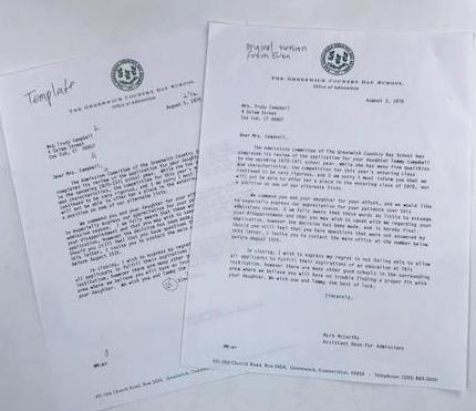 Trudy's Letter from The Greenwich Country Day School, Template and Original Version