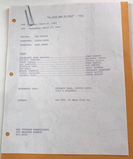 """To Have and To Hold"" Cast List and folders"