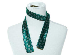 Masters' Green Bow Tie with White and Blue Circle Print - 1 of 2