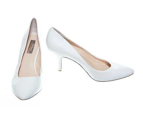 Libby's White Leather Pumps