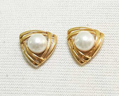 MASTERS OF SEX: Libby's Gold & Pearl Triangle Stud Earrings