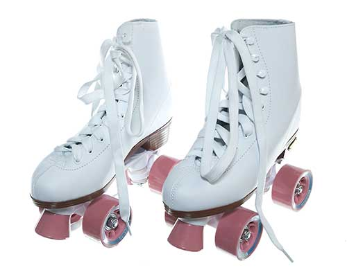 Playboy Bunny Roller Skates with Pink Wheels (Sz 6)-1