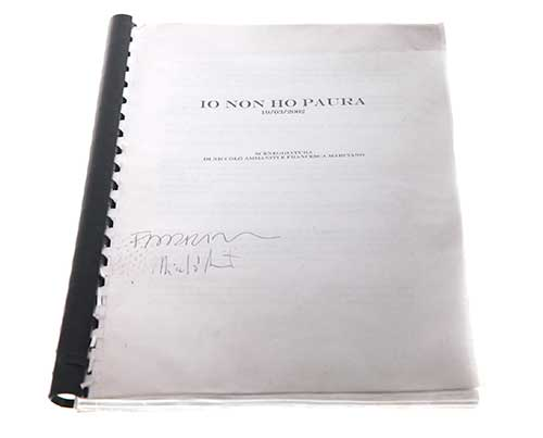 Screenbid Media Company, LLC. - Io Non Ho Paura aka I'm Not Scared, Italian Film. Signed Script