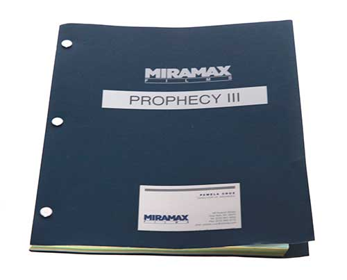 Prophecy 3: The Ascent. Signed Shooting Script