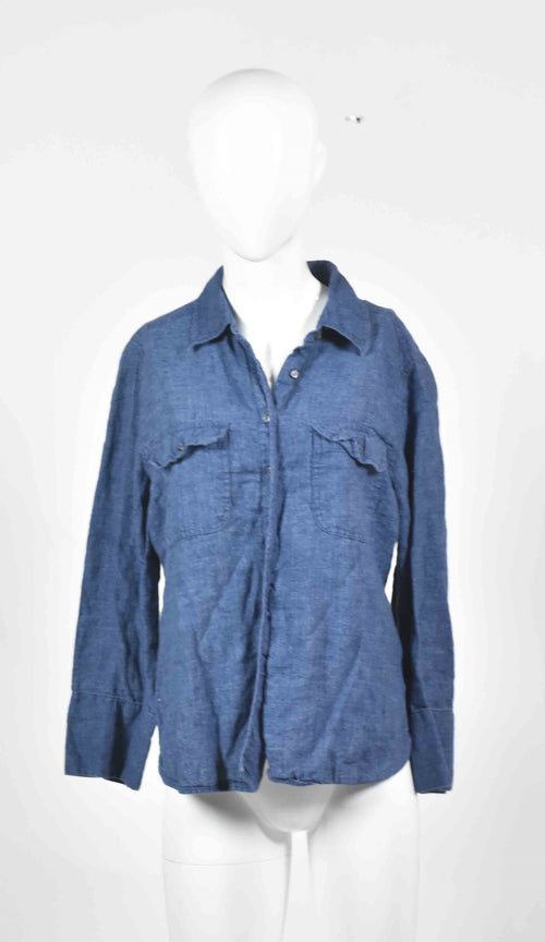 Screenbid Media Company, LLC. - Gone Baby Gone: Bea's Dark Blue Linen Shirt