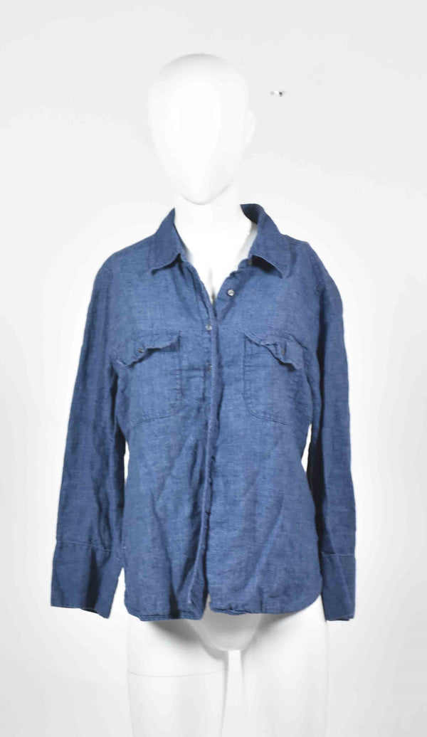 Gone Baby Gone: Bea's Dark Blue Linen Shirt-1