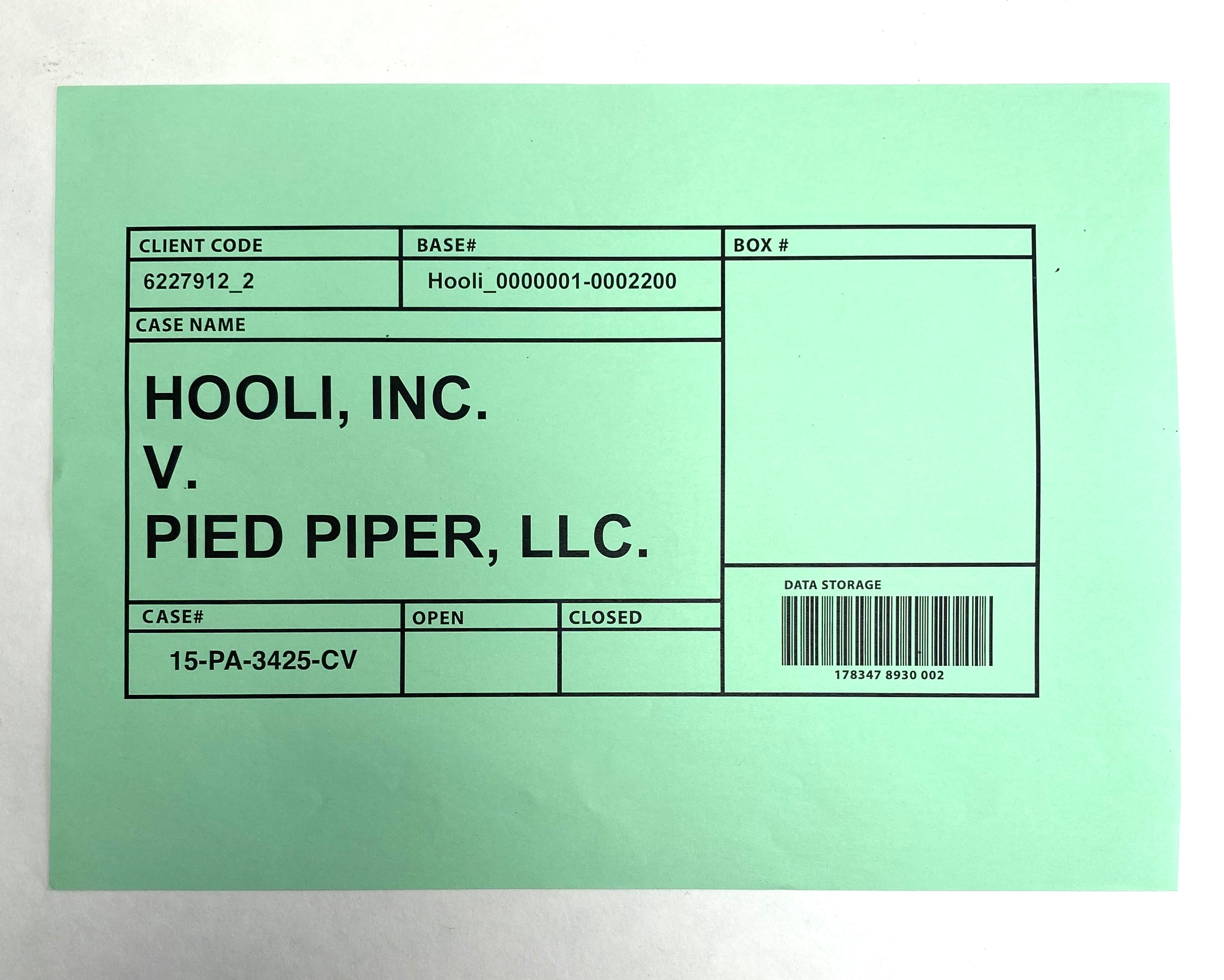 SILICON VALLEY: Hooli V. Pied Piper Case Data Storage Box Label