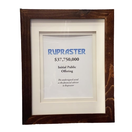 SILICON VALLEY:  Rupraster $37,750,000 Initial Public Offering