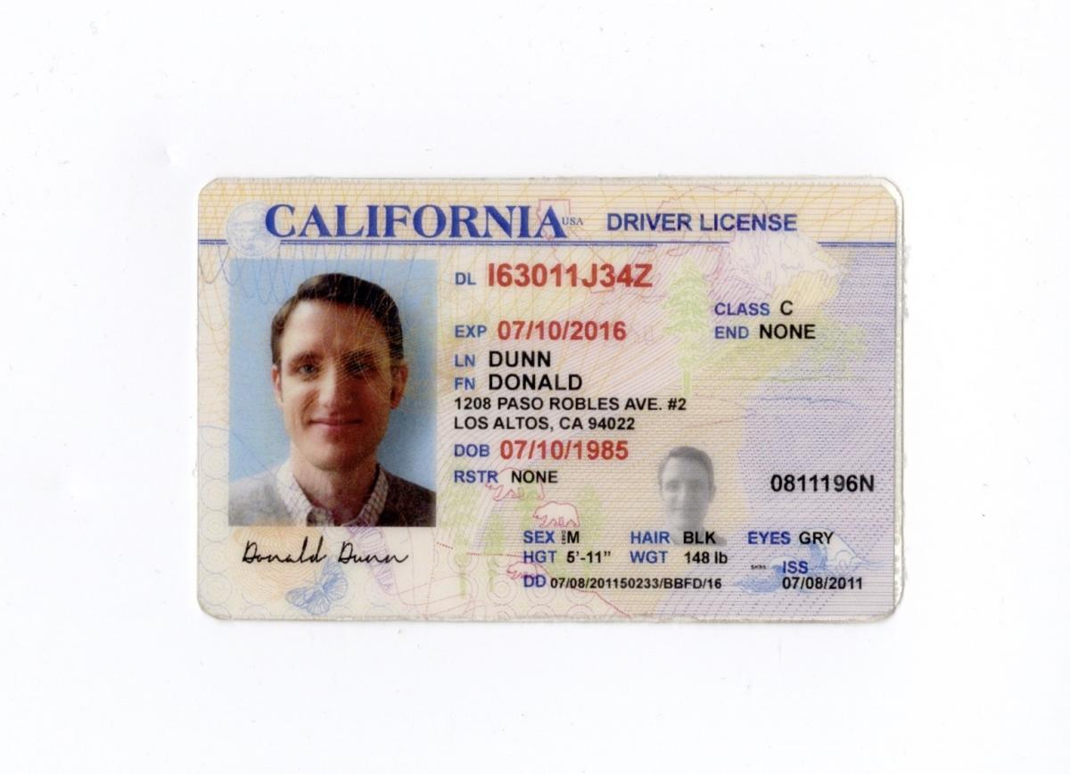 "Jared's ""Donald Dunn"" Driver's License"