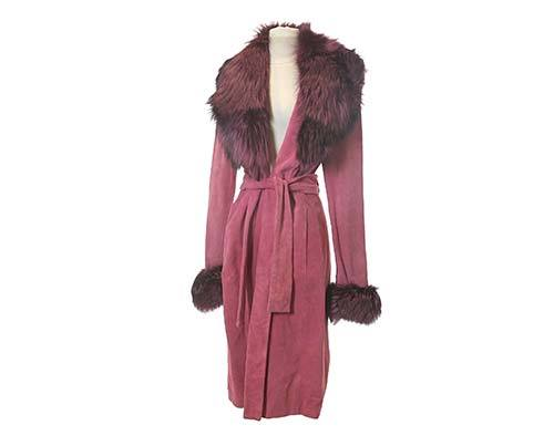 Shall We Dance: Paulina's Pink Suede Coat With Fur Collar-2