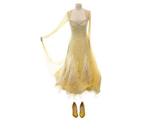 Shall We Dance Yellow Feather Gown & Heels-1