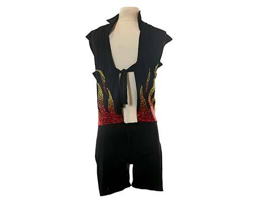 Shall We Dance Link's Production Used Dance Competition Flame Leotard