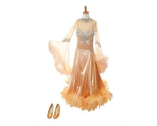 Shall We Dance Orange Feather Gown & Heels