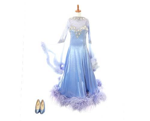 Screenbid Media Company, LLC. - Shall We Dance Periwinkle Feather Gown & Heels