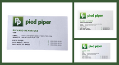 SILICON VALLEY: Richard, Jared & Erlich Pied Piper Business Card Trifecta