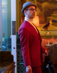 "THE GENTLEMEN: Matthew's Red ""Snake"" PAUL SMITH Houndstooth Suit"