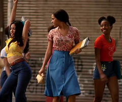 The Get Down - Mylene's Floral Crop Top & Blue Skirt Outfit