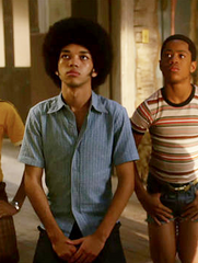 "The Get Down - Ezekiel ""Books"" Figuero's Hero French Blue Button up with Jeans"