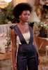 The Get Down - Yolanda's Hero Overalls w/ Striped Tube Top & Heels