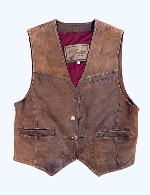 There Will Be Blood: Daniel's Brown Leather Sleeveless Vest and Denim Jeans-2
