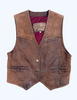 There Will Be Blood: Daniel's Brown Leather Sleeveless Vest and Denim Jeans