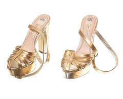 The Get Down - Yolanda's Metallic Gold Strappy Heels