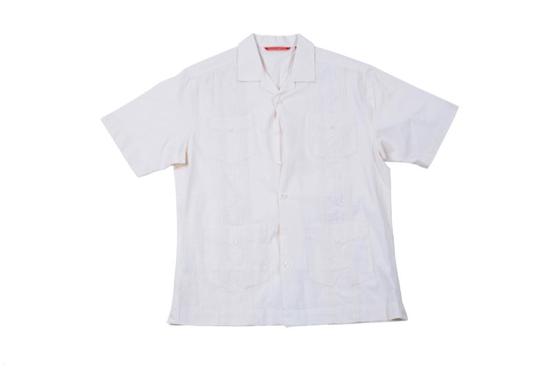 The Get Down: Off-White Short Sleeve Button-Up with Embroidery