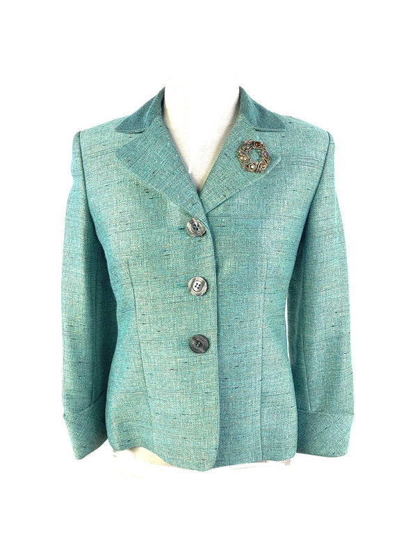Kasper Aquamarine Blazer with Broach-1