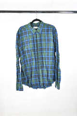VEEP: VINCE Green Plaid Long Sleeve Shirt